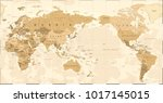 vintage political world map... | Shutterstock .eps vector #1017145015