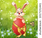 cute easter greeting card with... | Shutterstock .eps vector #1017151441