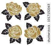 silhouettes of  golden roses... | Shutterstock .eps vector #1017152065