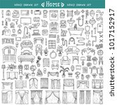 vector set with hand drawn... | Shutterstock .eps vector #1017152917