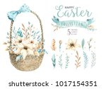 Stock photo hand drawn watercolor happy easter set with bunnies design rabbit bohemian style isolated boho 1017154351