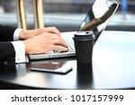 closeup of hand business man... | Shutterstock . vector #1017157999