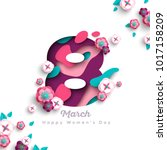 happy women's day greeting card.... | Shutterstock .eps vector #1017158209