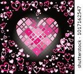 hearts shaped frame or border... | Shutterstock .eps vector #1017162547