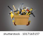 construction tools and helmet... | Shutterstock . vector #1017165157