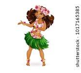 a beautiful girl in hawaiian... | Shutterstock .eps vector #1017165385