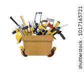 construction tools and helmet... | Shutterstock . vector #1017165721