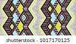 ikat geometric folklore... | Shutterstock .eps vector #1017170125