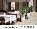 open summer cafes  kotor ... | Shutterstock . vector #1017170935