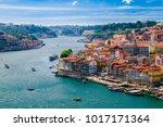 Panoramic view of Old Porto Oporto city and Ribeira over Douro river from Vila Nova de Gaia, Portugal