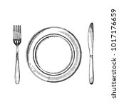 fork knife and a plate of...   Shutterstock .eps vector #1017176659