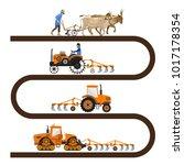 evolution of the farm tractor...   Shutterstock .eps vector #1017178354