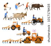 evolution of the farm tractor.... | Shutterstock .eps vector #1017178435