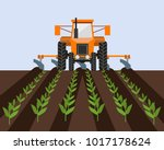 farm tractor cultivating field... | Shutterstock .eps vector #1017178624