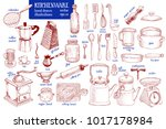 kitchenware set. hand drawn... | Shutterstock .eps vector #1017178984