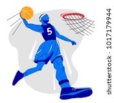 a player in a basketball gets...   Shutterstock .eps vector #1017179944