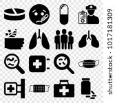 illness icons. set of 16... | Shutterstock .eps vector #1017181309