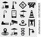 street icons. set of 16... | Shutterstock .eps vector #1017181825