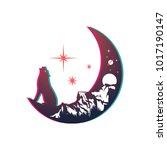 Wolf On Moon And Night Mountain ...