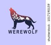 werewolf and night mountain... | Shutterstock .eps vector #1017190159