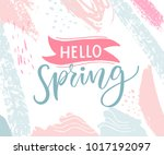 hello spring banner with pink... | Shutterstock .eps vector #1017192097