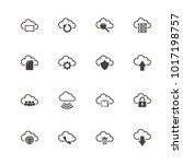 computer cloud icons. flat... | Shutterstock . vector #1017198757