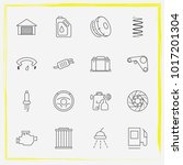 auto parts line icon set airbag ... | Shutterstock .eps vector #1017201304
