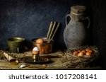classic still life with chicken ... | Shutterstock . vector #1017208141