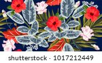 tropical seamless floral... | Shutterstock .eps vector #1017212449