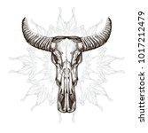 skull with horns. elements in... | Shutterstock .eps vector #1017212479