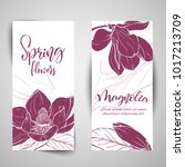 floral baners. hand drawn... | Shutterstock .eps vector #1017213709
