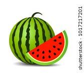 red ripe watermelon vector icon ... | Shutterstock .eps vector #1017217201
