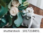 wedding bouquet of white roses... | Shutterstock . vector #1017218851