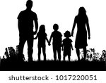 family silhouettes in nature. | Shutterstock .eps vector #1017220051