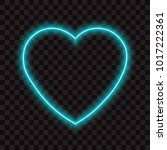 blue neon heart  vector... | Shutterstock .eps vector #1017222361