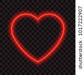 neon red heart  vector... | Shutterstock .eps vector #1017222907