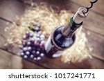 bottle of wine  grapes  cork... | Shutterstock . vector #1017241771