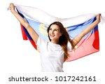 happy russian soccer fan with...   Shutterstock . vector #1017242161