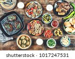 bbg and grilled dinner table... | Shutterstock . vector #1017247531