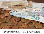 euro notes on mountains  euro... | Shutterstock . vector #1017249301