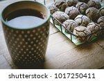 chocolate crinkle cookies in a... | Shutterstock . vector #1017250411