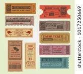 set of vintage vector tickets... | Shutterstock .eps vector #1017250669