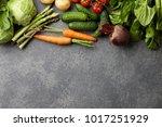 fresh spring vegetables cooking ... | Shutterstock . vector #1017251929