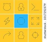 illustration of 9 ui icons line ...