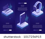 Set of 3 conceptual headings.Smart digital devices such as phone ,laptop,watches. 3d isometric vector illustration on dark blue background | Shutterstock vector #1017256915