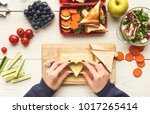 preparing healthy vegetarian... | Shutterstock . vector #1017265414