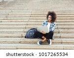 smiling african american... | Shutterstock . vector #1017265534