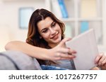 picture of happy adult woman...   Shutterstock . vector #1017267757