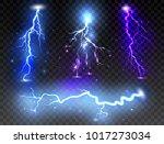 set of realistic lightnings on... | Shutterstock .eps vector #1017273034