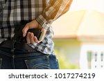 terrorist thief man holding...   Shutterstock . vector #1017274219